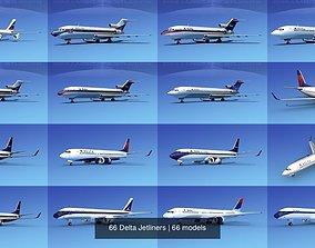 66 Delta Jetliners 3D model