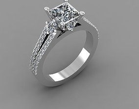 Ring with a square diamond 3D print model