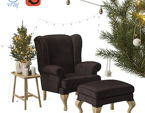 3D Christmas set spruce with a wing chair and a pouf