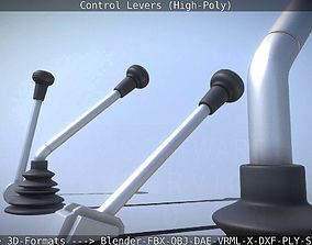 3D Control Levers High-Poly