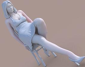 Woman sit on chair 3D print model