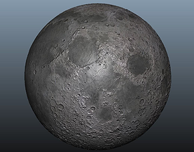 3D model Moon planet - Normal map mid poly - 8K Res