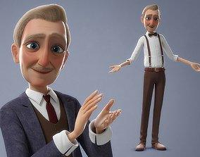 Cartoon Old Man Rigged 3D model