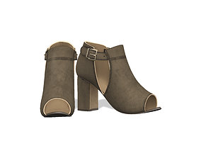 Olive Green Cutout Peep Toe Suede Boots 3D asset