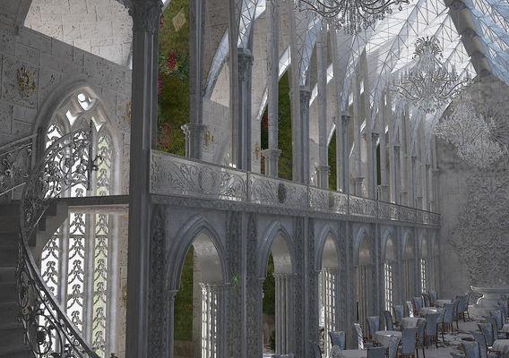 Interior of the Gothic interior of the restaurant (concept)