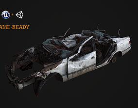 3D asset Crushed Car