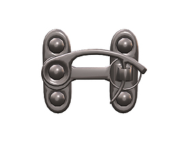 Low Poly Metal Steampunk Safety Pin Button Buckle 3D model