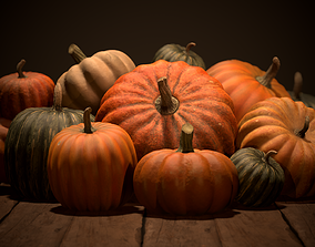 Pumpkins 3D asset low-poly