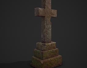 3D asset Medieval Cross Tombstone