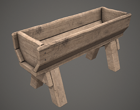 Old Wooden Trough PBR Low Poly 3D model