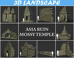 3D model Low poly Mossy Ruin Asia Temple Package 190822