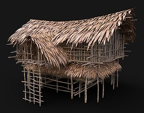 TRIBAL JUNGLE PRIMAL HUT HOUSE REED THATCHED 3D model 2
