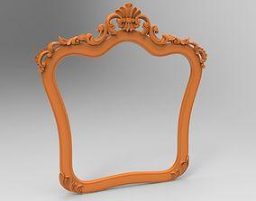 Carved CNC 3D print model of mirror frame