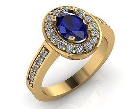 3D print model Blue Sapphire Ring
