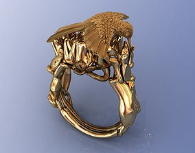3D printable model Hummingbird Coctail Gold Ring