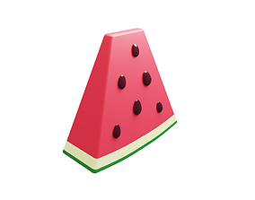 3D asset Watermelon slice with seeds low poly cartoon 1