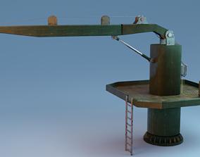 Green Metallic Rusted Davit 3D model