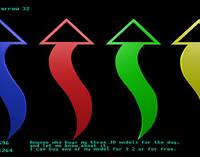 3D asset Low poly arrow 32