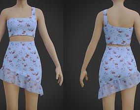 Ruffle Asymmetrical Miniskirt Dress- 2 Piece 3D asset 1