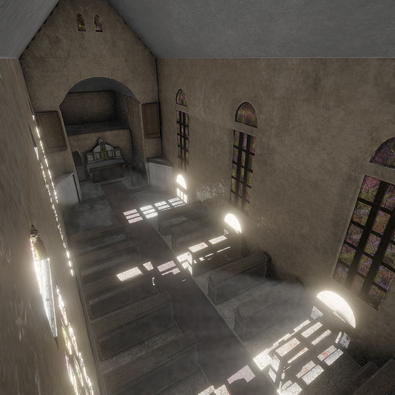 Post apocalyptic church inside