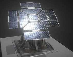 3D asset Solar Power Tower Animated and Game