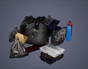 3D asset Garbage Set Low Poly Game Ready