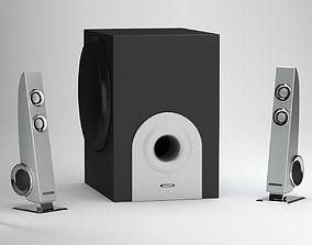 Black Silver Speaker 3D