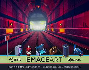 3D Pixel-Art Underground Subway Metro Station low-poly 2