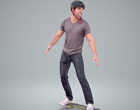 Sporty Man on a Skateboard with 3D model