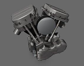 Panhead Harley Motorcycle Engine 3D