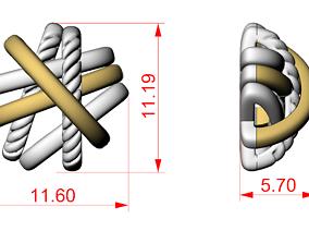 3D printable model Crossover STUD earrings