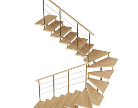 Wooden Stair on Metal Frame 3D