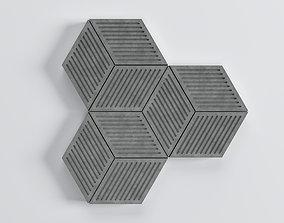 3D model Hexagone Cube Tiles - 02