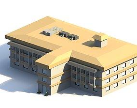 3D asset Low Poly Hotel Building