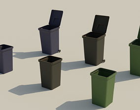 3D asset Garbage Box - Lowpoly Trash Can with