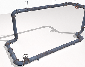 Modular rusty pipes pack 1 3D model PBR
