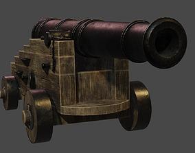 Stylized vessel cannon PBR low-poly 3D model artillery