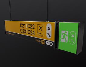 3D asset Airport Sign Board 003