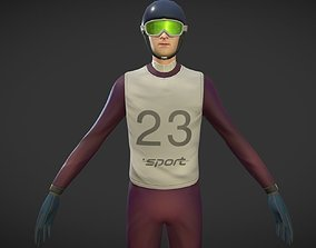 3D asset animated Ski jumper with animation