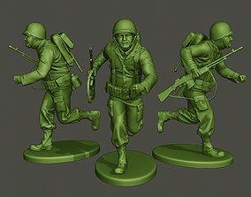 3D print model American soldier ww2 run A3
