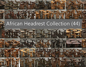 African Headrest Antique Carved Wood Collection 3D