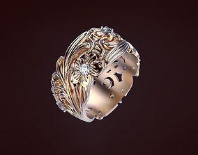 Flower ring with gems 3D print model