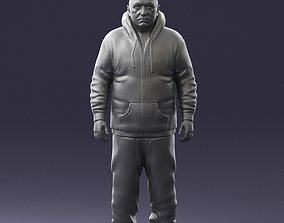 Bald man red jacket 0734 3D Print Ready