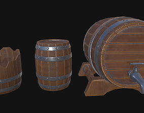 beer Stylized game-ready barrel pack 3D asset