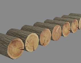 3D model low poly logs