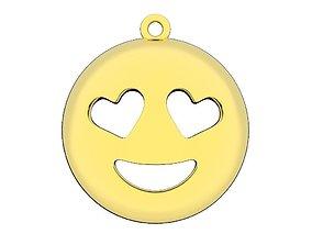 Emoji gold pendant printable Smiley love jewelry 3dm stl