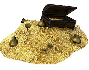 3D asset Treasure with coins and chest