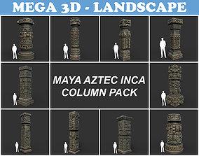 Low poly Mayan Inca Aztec Column Modular Pack 3D asset 1