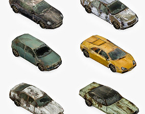 3D model game-ready Broken Cars Pack