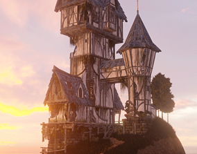 3D model Fantasy House with interior PBR Game-Ready